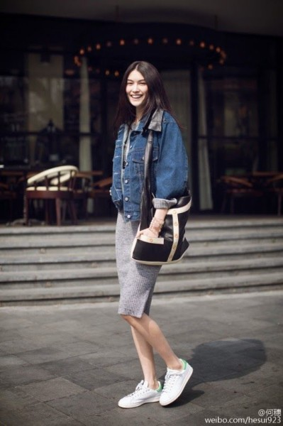 MingXi doing denim offduty in Paris.