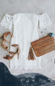 Sweet Retreat Off White Lace Off-the-Shoulder Bodycon Dress