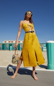 Yellow Car Wash Cutout Dress by Cult Gaia