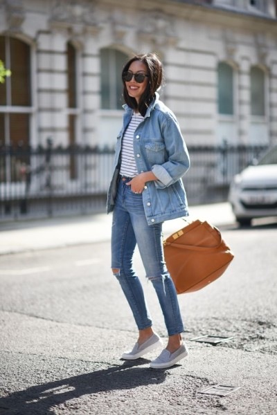 denim on denim outfit with striped tee and sneakers
