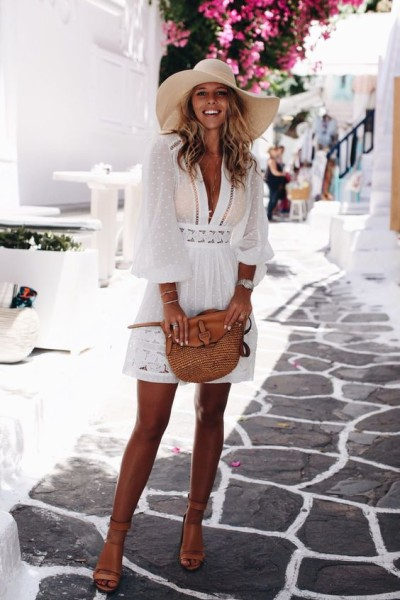 Pretty white swiss dot swimsuit cover up or dress with tan leather sandals and bag