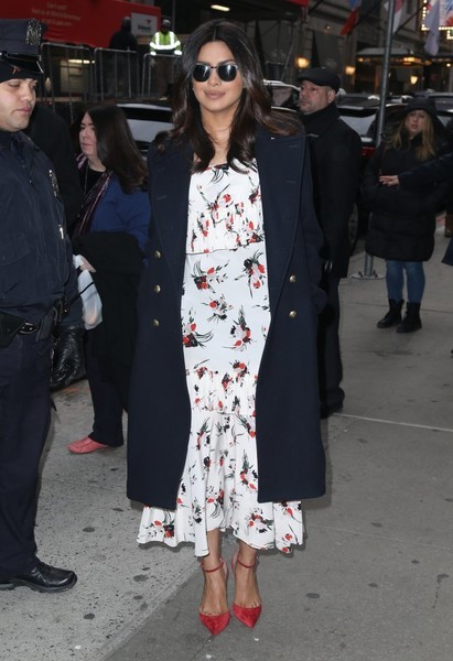 Priyanka Chopra headed to 'Good Morning America' looking ultra girly in a tiered floral frock by Marni.