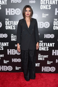 Priyanka Chopra went mannish up top in a double-breasted blazer by Brunello Cucinelli at the New York premiere of 'The Defiant Ones.'