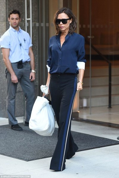 Victoria Beckham looks effortlessly glamorous in billowing track pants