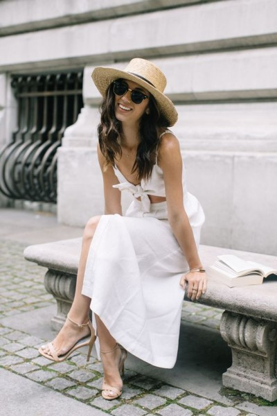 straw boater hat + white sundress