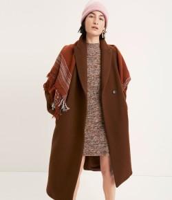 Atlas Cocoon Coat Marled Mockneck Sweater-Dress Beanie