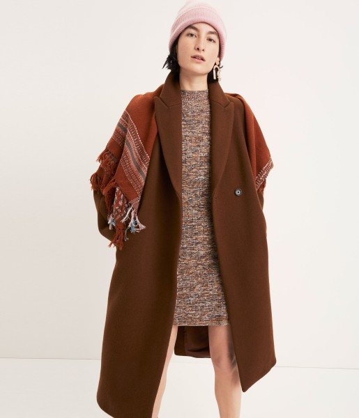 Atlas Cocoon Coat Marled Mockneck Sweater-Dress Beanie