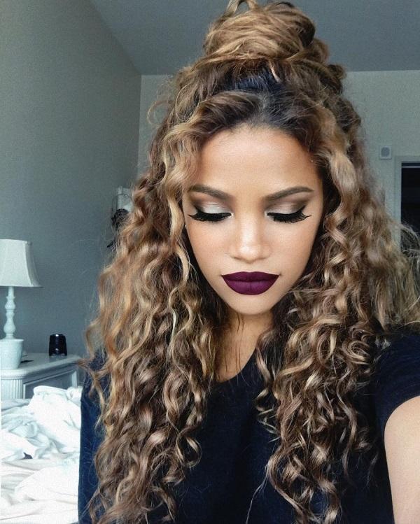 Curly Half-Up Bun