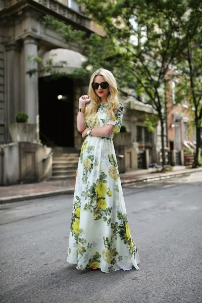 Floral Dress Outfit Ideas For Fall 2017