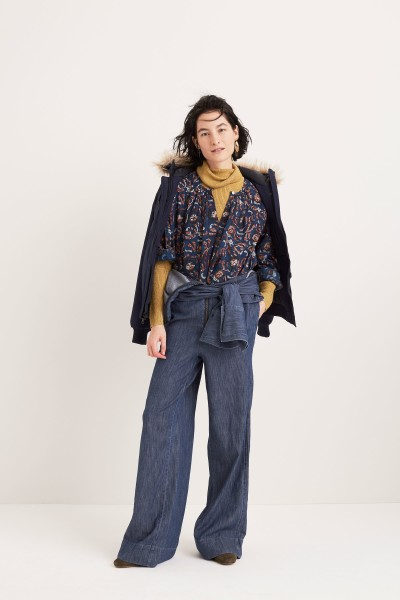 Printed Shirt Denim Wide-Leg Jumpsuit Face It Earrings