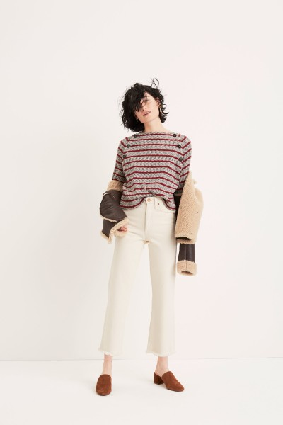 Reversible Shearling Coat Retro Crop Bootcut Jeans