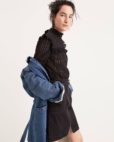 Sherpa Denim Duster Coat Eyelet Mockneck Top