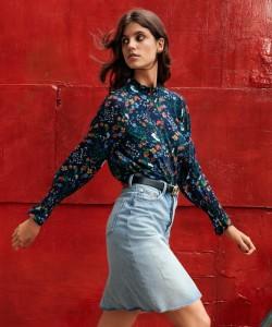 H&M Crinkled Chiffon Blouse and Knee-Length Denim Skirt