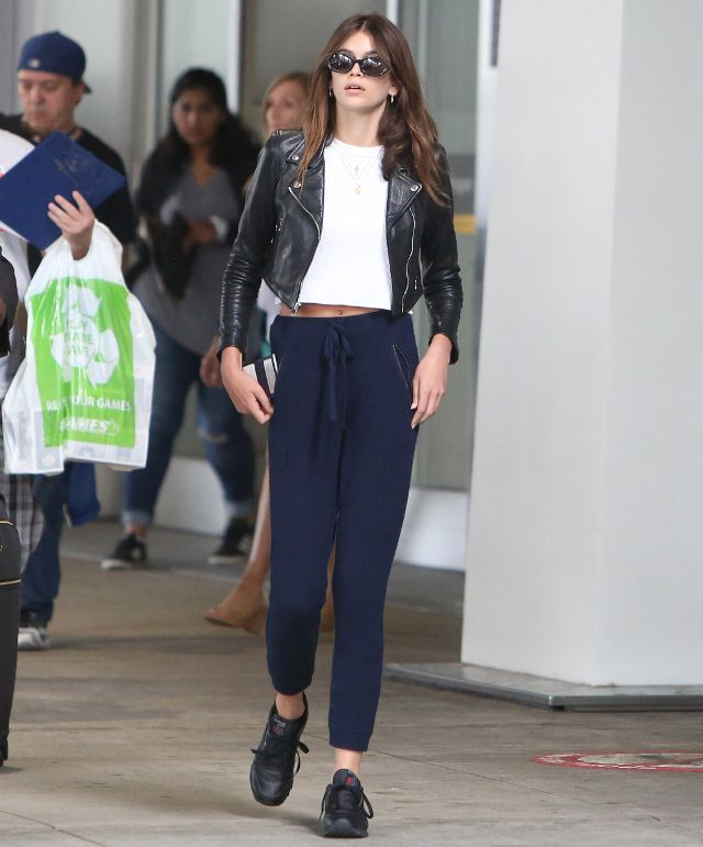 Kaia Gerber With Moto Jacket