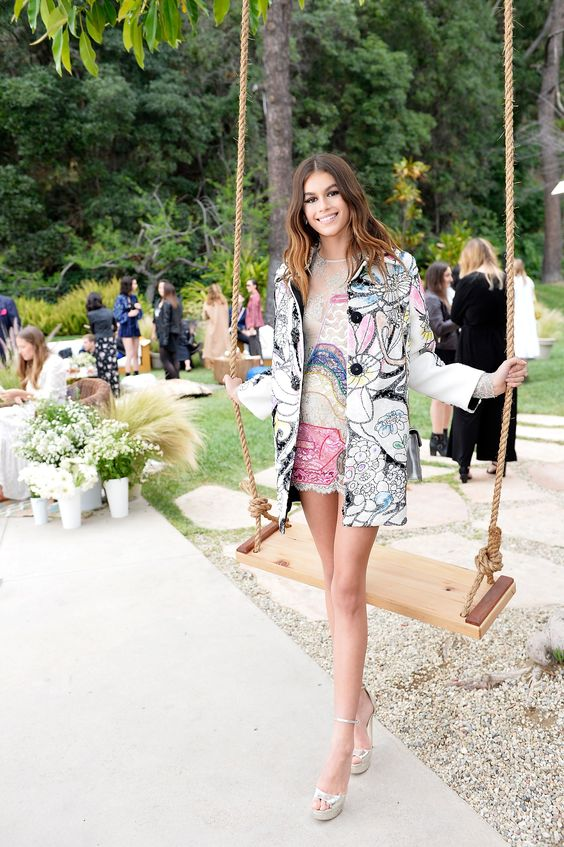 Kaia Gerber mixed prints