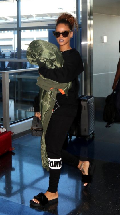 Rihanna's furry slides