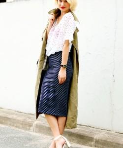 via Pair a lightweight polka dot blouse with a polka dot pencil skirt for an intriguing ensemble.