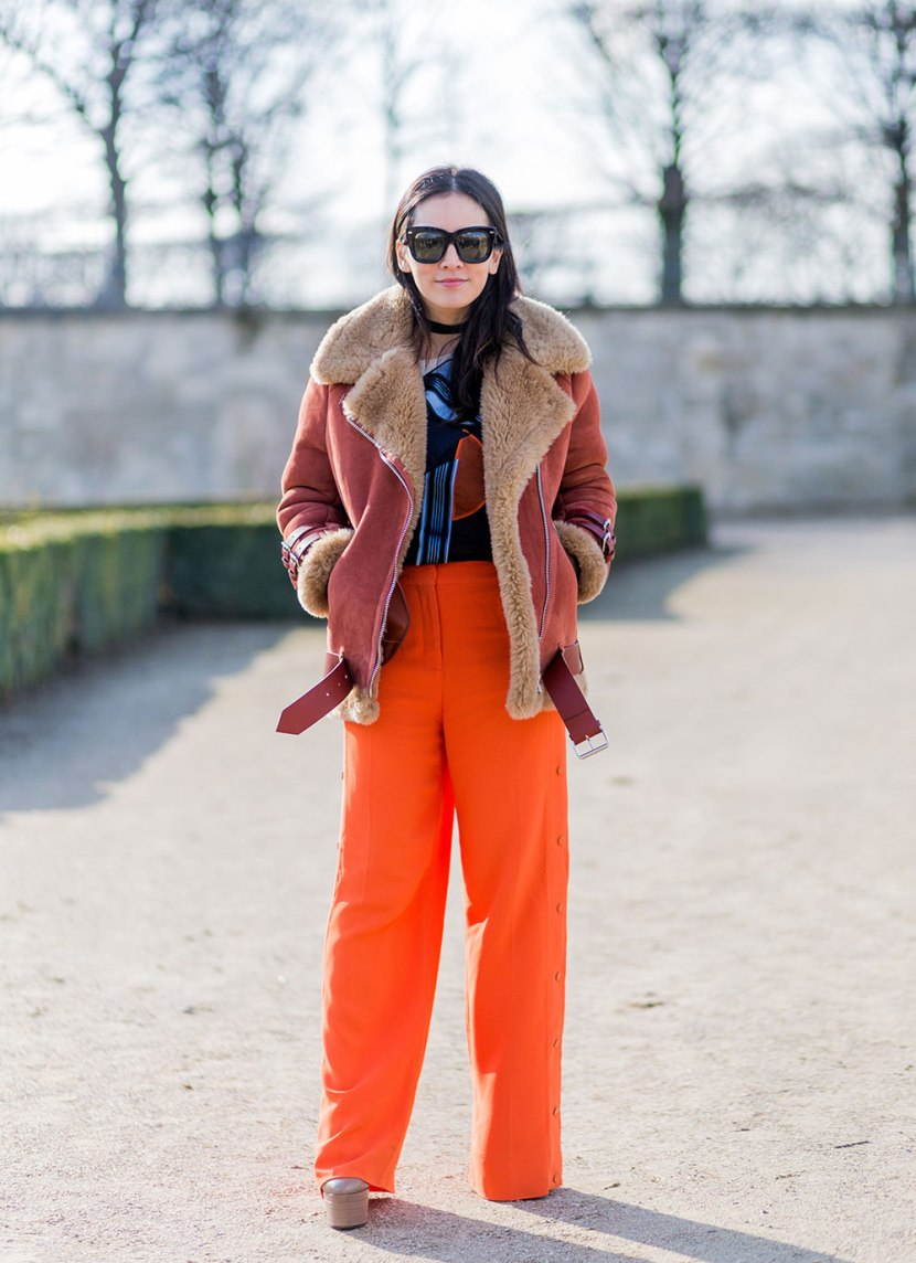Orange Shearling via Stylecaster