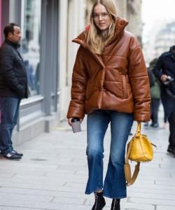 Brown Leather Puffer Jacket via Fashionista.com