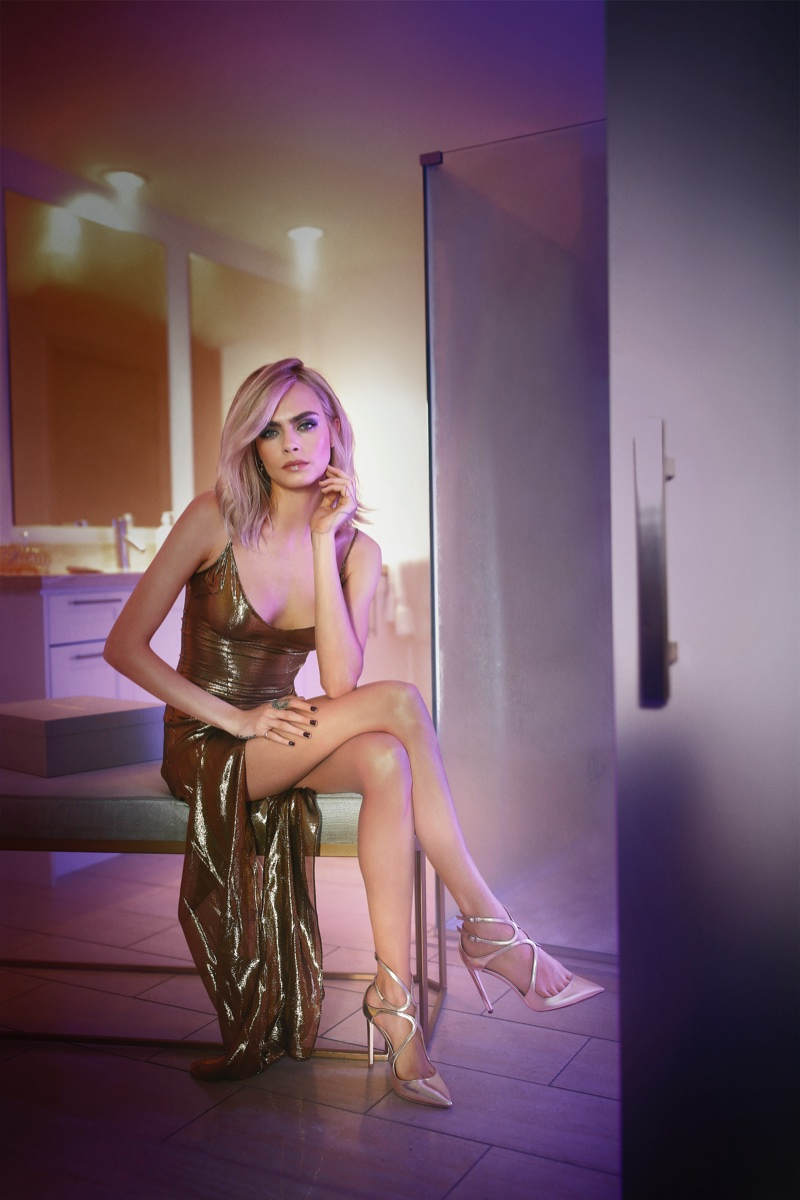 Cara Delevingne Jimmy Choo 'Lancer' Pumps in Champagne Glitter Leather