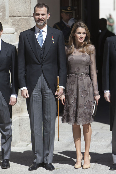 Princess Letizia charmed in a flower-appliqued gray sheer-overlay dress at the Miguel de Cervantes Award.