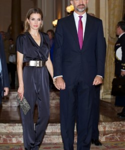 Princess Letizia looked uber cool in a black Hugo Boss jumpsuit with a wrap-style bodice during the Francisco Cerecedo Journalism Award.