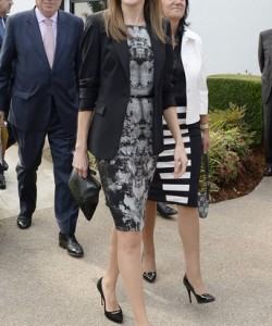 Princess Letizia oozed modern elegance in a monochrome print dress teamed with a black blazer during her visit to the Getty House.
