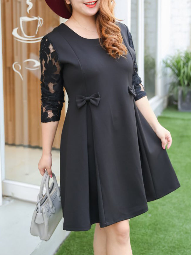 Bowknot Patchwork Hollow Out Plain Plus Size Flared Dress |Editor Choices: Plus Size Party Dresses From FashionMia