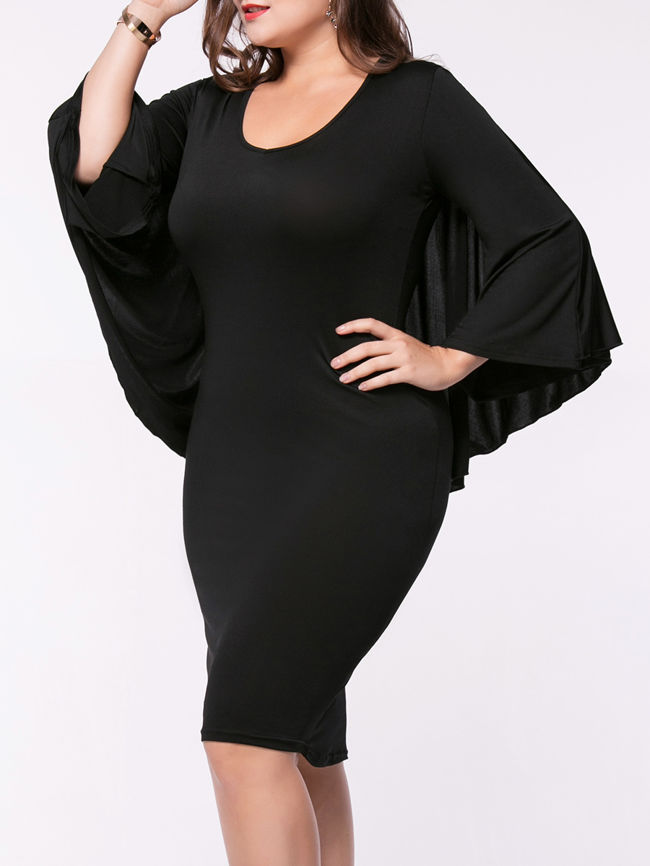 Cape Sleeve Solid Round Neck Plus Size Bodycon Dress
