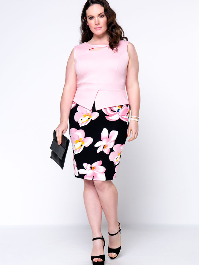 Floral Color Block Asymmetric Neck Cutout Office Plus Size Bodycon Dress