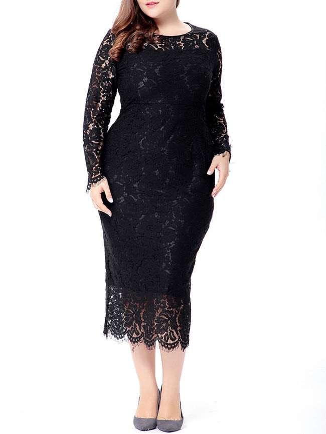 Graceful Crew Neck Hollow Out Plain Lace Plus Size Bodycon Dress