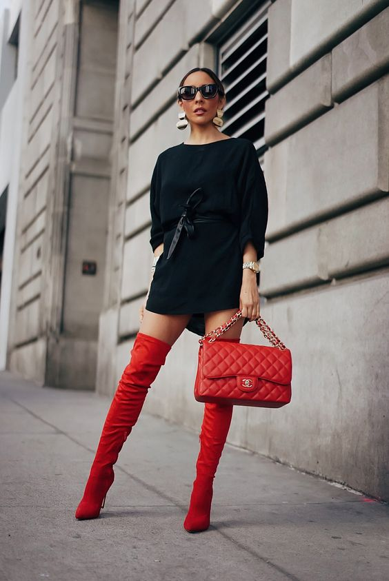 red thigh high boots via hauteinstinct.com