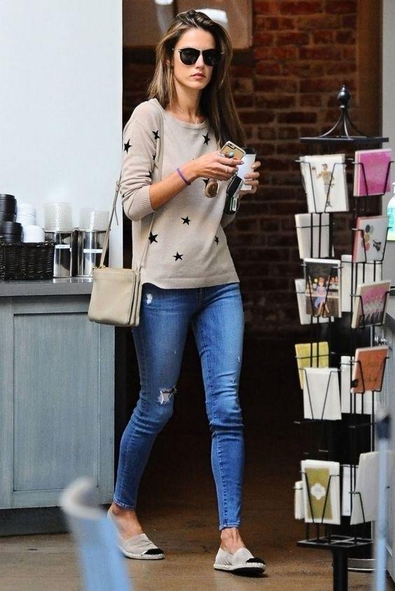 Alessandra Ambrosio wearing Celine Trio Bag, Schutz Alpargata Luxo Oyster Shoes