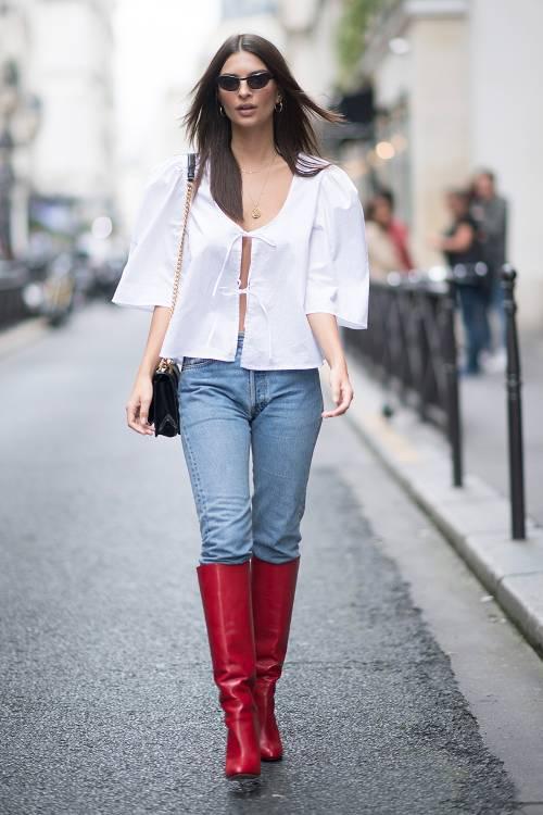 Emily Ratajkowski: Aquazzura Brera Leather Knee Boots ($1200); MaisonCléo Agnès Blouse ($95)