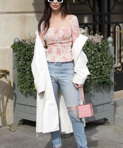 Emily Ratajkowski Moynat Mini Vanity bag; Brock Collection x Esquivel shoes; Raen Flatscreen Sunglasses