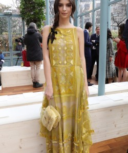 Emily Ratajkowski was a boho babe in an embroidered yellow maxi dress by Valentino during the label's fashion show.