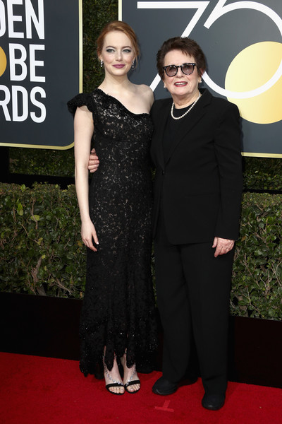 Emma Stone (in Louis Vuitton) and Billie Jean King