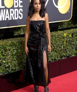 BEVERLY HILLS, CA - JANUARY 07: Actor Kerry Washington attends The 75th Annual Golden Globe Awards at The Beverly Hilton Hotel on January 7, 2018 in Beverly Hills, California.  (Photo by Venturelli/WireImage)