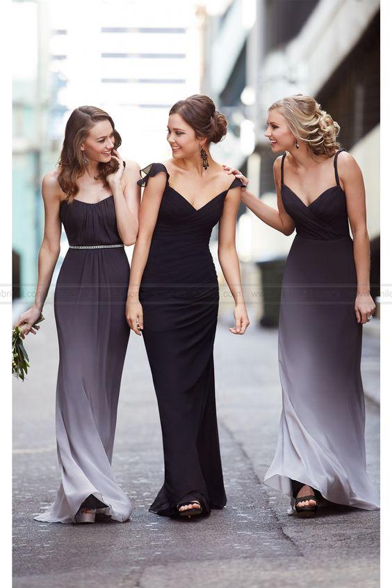Black Ombre Bridesmaid Dress Style