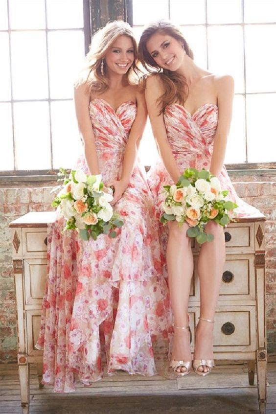 red printed flowers bridesmaid dresses