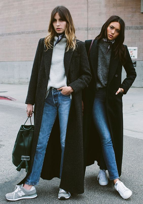 Jeans with kicks and long maxi coats