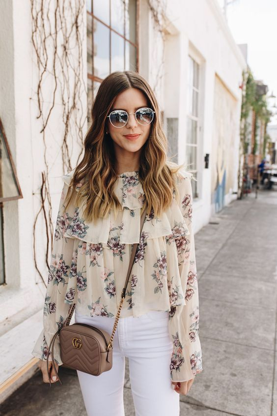Michelle Madsen in White Floral Top