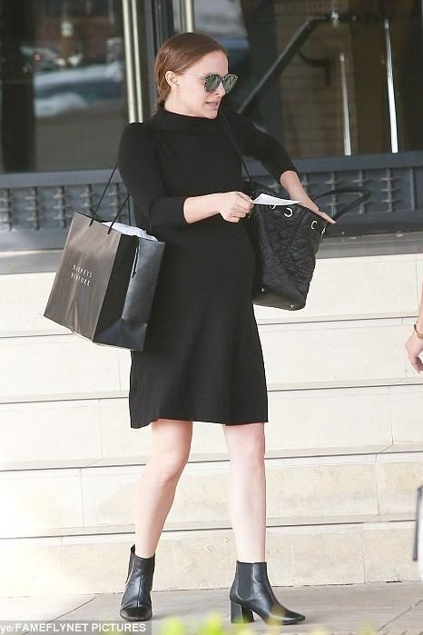 Natalie Portman wearing Dior Panarea Tote Bag and Isabella Oliver Kennett Maternity Dress