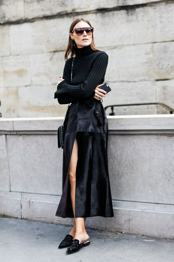 Black knit turtleneck with midi suede skirt and topped off with velvet flat mules.