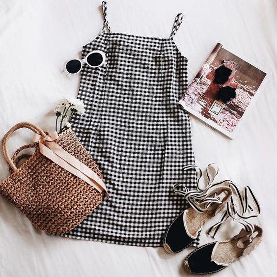 gingham dress, espadrilles, white sunglasses, straw bag outfit