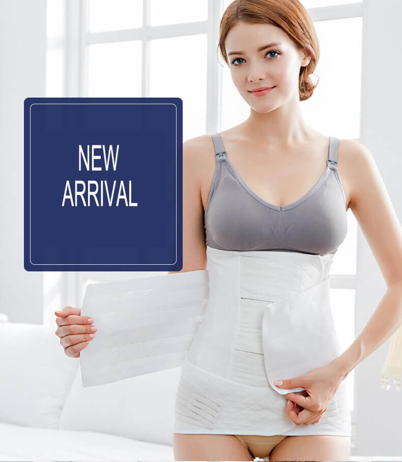 Cotton White 3 In 1 Postpartum Support Girdle Belt - Recovery Belly/Waist/Pelvis Belt Shapewear