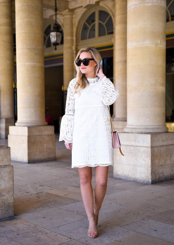 Formal Outfit with White-Lace-Dress