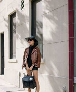 Leather motto jacket and Mansur Gavriel Lady Bag
