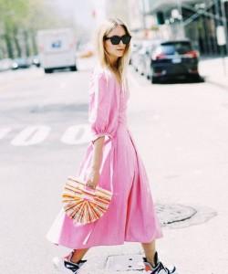 pink midi dress and chunky trainers