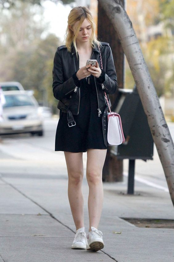 Black Dress and leather jackets